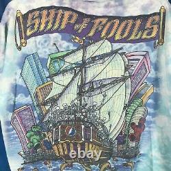 Vintage 90s GRATEFUL DEAD SHIP OF FOOLS ALL OVER PRINT T-Shirt XL rock concert