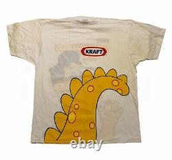 Vintage 90s Kraft Cheesasaurus Rex All Over Print T-Shirt Dead Stock Size XL