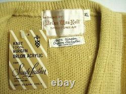 Vintage Dead Stock 60s Diamond Inlay Orlon Suede Leather Cardigan Sweater XL