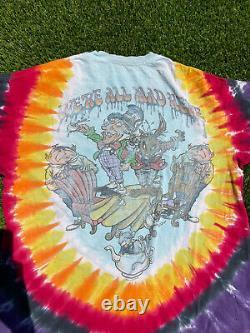Vintage Grateful Dead Alice In Wonderland T-Shirt Size XL Liquid Blue Tie Dye