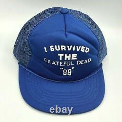 Vintage Grateful Dead I Survived 88 Snapback Foam Trucker Hat Blue Jerry Garcia