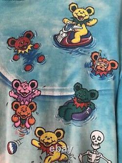 Vintage Grateful Dead T-Shirt Original 1999 Liquid Blue, Bears at the Beach