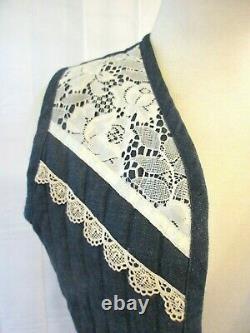 Vintage Gunne Sax Outfit Dead Stock Vest Skirt Set Blue Denim Off White Lace M