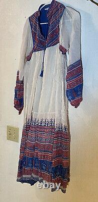 Vintage Hippie Bohemian Indian Cotton Block Print Kaiser Dress Large Dead Stock