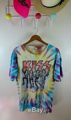 Vintage Kiss 1996 Reunion Tour Shirt Tie Dye Alive Double Sided Grateful Dead