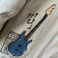 Vintage Levis Trucker Jacket Sherpa Denim Grateful Dead Hand Painted M Grunge