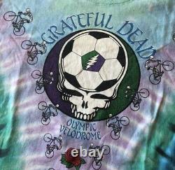 Vintage Liquid Blue Grateful Dead 1990 Olympic Velodrome Tie Dye Soccer Tee