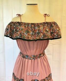 Vintage Off the Shoulder Dress 1970s Dead Stock Sundress 38 Dusty Rose NOS NWT L