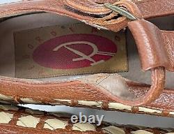 Vintage RED OR DEAD 90's does 70's Brown Woven Leather T-Strap Platforms Pumps