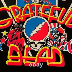 Vintage Rock & Roll Grateful Dead Logo Skull Roses Flocked Black Light Poster