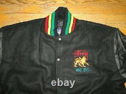 Vintage STUSSY varsity jacket 90s hip hop shirt rap letterman Dead stock Sz. L