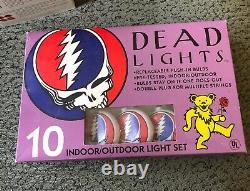 Vintage Steal Your Face Grateful Dead Lights 10 Indoor/Outdoor Light Set in Box