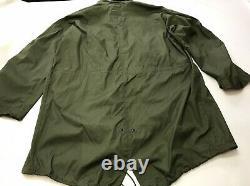 Vintage US Army 1980s M65 Fishtail Parka Shell OG Dead Stock Size Large