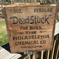 Vintage Wooden Advertising Box Dead Stuck For Bugs Crate