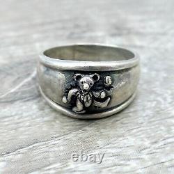 Vintage original Grateful Dead Dancing Bear Sterling Silver Ring Size 10.5