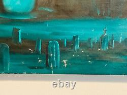 Vtg 1960's James Ealey prison painting Nude Dead Body over Cemetery 33x24