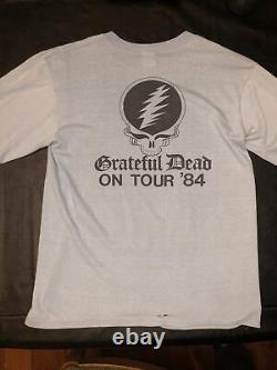 Vtg. 1984 tour GRATEFUL DEAD Long Sleeve T Shirt Cyclops Skull Roses Thin USA L