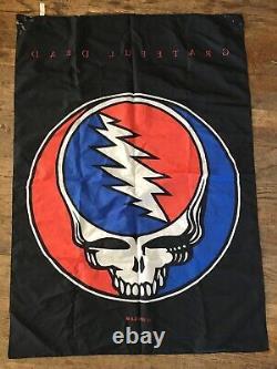 Vtg 1990s Grateful Dead Lightning Skull Satin Banner 1994 GDM Wall Hanging Flag