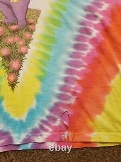 Vtg 1991 Grateful Dead Spring Tour Tie Dye Bear Shirt Jerry Garcia liquid Blue