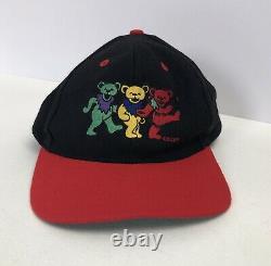 Vtg 3 Dancing Bears Grateful Dead Red/Black Baseball Snapback Hat Cap KC Brand