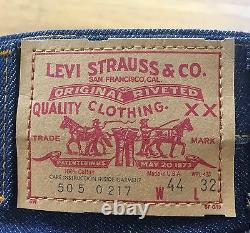 Vtg 80s Levis Dead stock 505 501s Jeans Usa Ykk Zipper 44 32